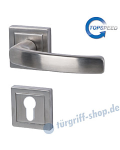 Cintre Square-R quadrat. Rosetten-Halbgarnitur für Haustüren, Top Speed, Profilzylinder, 8 mm, GK4, Edelstahl-matt Südmetall