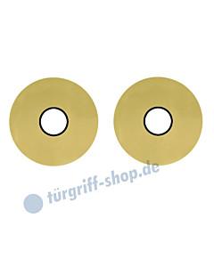 Drückerrosettenpaar flächenbündig rund Ø 55mm Messing-poliert PVD Scoop
