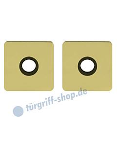 Drückerrosettenpaar flächenbündig quadratisch 55x55mm Messing-poliert PVD Scoop
