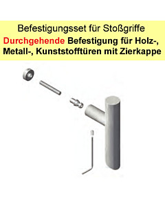Stoßgriff-Befestigungs-Set | durchgehende Befestigung an Metall/Holz/Kunststofftüren mit Zierkappe Südmetall