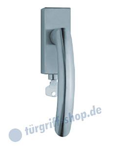 1085 (Golf) Fenstergriff abschließbar, eckige Olive, Edelstahl o. PVD Messing-poliert Scoop