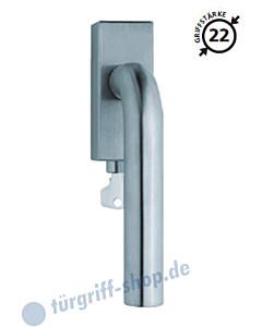 2100 Fenstergriff abschließbar, eckige Olive, Griffstärke 22 mm, Scoop, technische Zeichnung des Drückers