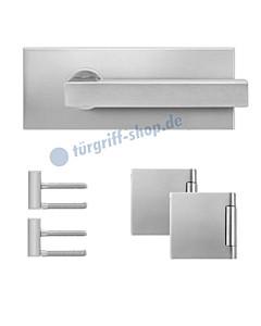Glastürschloss-Set EGS360Q inkl Bänder und Griffpaar Edelstahl matt von Karcher