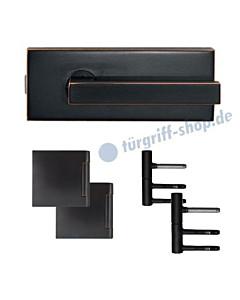 Glastürschloss-Set EGS360Q inkl Bänder und Griffpaar in Antik Bronze Optik von Karcher Design