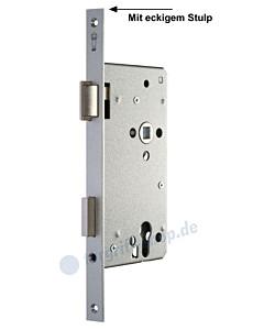 Serie 15 Einsteckschloss für Haustüren mit eckigem Stulp in silbermetallic