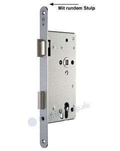 Serie 15 Einsteckschloss für Haustüren mit rundem Stulp in silbermetallic
