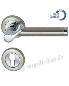 Elena-R Rosetten-Halbgarnitur für Haustüren, MRM Comfort, GK4, 8 mm, Profilzylinder, Chrom/Edelstahl-matt Südmetall