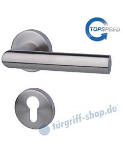 Erika-R Rosetten-Halbgarnitur für Haustüren, Top Speed, Profilzylinder, 8 mm, GK4, Edelstahl-matt Südmetall