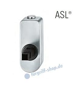 Fenstergriff-Rosette ASL® absperrbar mit Druckknopf, oval in Edelstahl feinmatt FSB