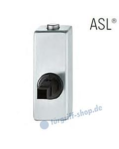 Fenstergriff-Rosette ASL® absperrbar mit Druckknopf, eckig in Edelstahl feinmatt FSB
