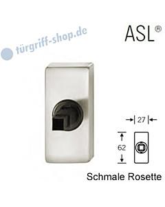 Fenstergriff-Rosette ASL® schmale eckige Rosette 27x62mm   nicht abschließbar   Alu naturfarbig eloxiert von FSB