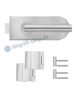 Glastürschloss-Set EGS370 halbrund inkl Bänder und Griffpaar Edelstahl matt von Karcher