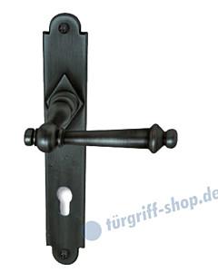 Hallein II-LS Haustürgarnitur Knopf/Drücker 10/92 mm Stahl geschwärzt-matt von Südmetall