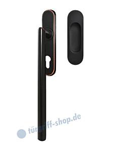 Hebe-/Schiebetürgriff-Set EHSSET28 PZ, Innenschild PZ 69 mm, außen Griffmuschel, Vierkantstift 10/9 mm, Antik Bronze Optik Karcher Design