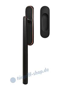 Hebe-/Schiebetürgriff-Set EHSSET28 UN, Innenschild ungelocht, außen Muschel, Vierkantstift 10/9 mm, Antik Bronze Optik Karcher Design