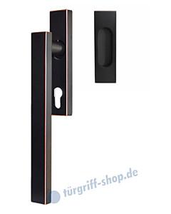Hebe-/Schiebetürgriff-Set EHSSET52Q PZ, Innenschild PZ 69 mm, außen Muschel ungelocht, Vierkantstift 10/9 mm, Antik Bronze Optik Karcher Design