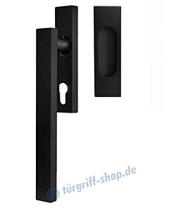 Hebe-/Schiebetürgriff-Set EHSSET52Q PZ, Innenschild PZ 69 mm, außen Muschel, Vierkantstift 10/9 mm, Kosmos schwarz Karcher Design