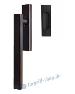 Hebe-/Schiebetürgriff-Set EHSSET52Q UN, Innenschild ungelocht, außen Muschel, Vierkantstift 10/9 mm, Antik Bronze Optik Karcher Design