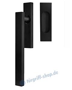 Hebe-/Schiebetürgriff-Set EHSSET52Q UN, Innenschild ungelocht, außen Muschel, Vierkantstift 10/9 mm, Kosmos schwarz Karcher Design