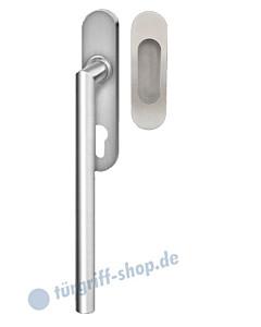 Hebe-/Schiebetürgriff-Set EHSSET28 PZ, Innenschild PZ 69 mm, außen Griffmuschel, Vierkantstift 10/9 mm, Edelstahl matt Karcher Design