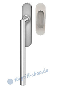 Hebe-/Schiebetürgriff-Set EHSSET28 UN, Innenschild ungelocht, außen Muschel, Vierkantstift 10/9 mm, Edelstahl matt Karcher Design