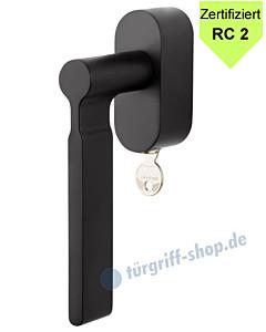 ID-9 Fenstergriff ovale Rosette abschließbar RC 2 zertifiziert Schwarz RAL 9005 von Jatec