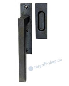 Ischgl Hebeschiebetürgriff mit Griffmuschel, eckige Rosette, 180° Rastermechanik, Schwarzstahl von Halcö