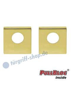 Schlüsselrosettenpaar Rundzylinder (RZ, Kaba) PullBloc quadratisch 55x55mm Messing poliert PVD Scoop