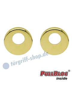 Schlüsselrosettenpaar Rundzylinder (RZ, KAba) PullBloc rund Ø 54mm Messing poliert PVD Scoop