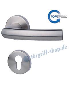 Katy-R Rosetten-Halbgarnitur für Haustüren, Top Speed, Profilzylinder, 8 mm, GK4, Edelstahl-matt Südmetall