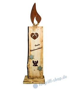 Kerze Tanja Höhe 135 cm Holz angeflammt mit gerostetem Metall - Gartenambiente