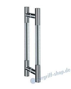 Klassik Modul Glastür-Stoßgriff-Paar 120/1 | Länge 390 mm | gerade Stütze | Stange Ø 26 mm Edelstahl matt Schneider + Fichtel
