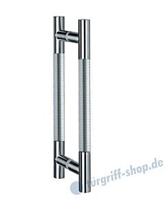 Klassik Modul Glastür-Stoßgriff-Paar 121/1 | Länge 390 mm | gerade Stütze | Stange Ø 26 mm Edelstahl matt / Alu EV1 Schneider + Fichtel