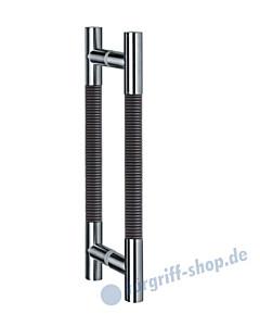 Klassik Modul Glastür-Stoßgriff-Paar 122/1 | Länge 390 mm | gerade Stütze | Stange Ø 26 mm Edelstahl matt / Alu schwarz eloxiert  Schneider + Fichtel