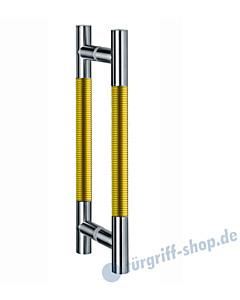 Klassik Modul Glastür-Stoßgriff-Paar 123/1 | Länge 390 mm | gerade Stütze | Stange Ø 26 mm Edelstahl matt / Alu goldfarbig eloxiert  Schneider + Fichtel