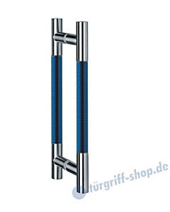 Klassik Modul Glastür-Stoßgriff-Paar 124/1 | Länge 390 mm | gerade Stütze | Stange Ø 26 mm Edelstahl matt / Alu blau eloxiert  Schneider + Fichtel