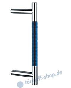 Klassik Modul 124/44 Stossgriff Länge 390 mm   schräge Stütze   Edelstahl matt/Alu blau eloxiert Schneider + Fichtel