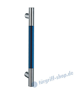 Klassik Modul 124/6 Stossgriff Länge 390 mm   gerade Stütze   Stange Ø 26 mm   Edelstahl matt / Alu blau eloxiert Schneider + Fichtel