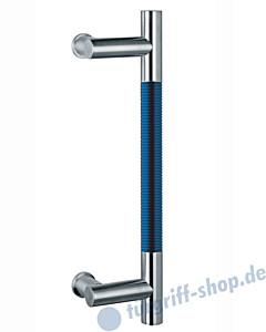 Klassik Modul 124/8 Stossgriff Länge 390 mm   Winkelgriffstütze   Edelstahl matt/Alu blau eloxiert Schneider + Fichtel