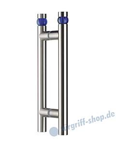 Klassik Moon Glastür-Stoßgriff-Paar 5162/1 Edelstahl matt mit blauer Kugel Schneider + Fichtel