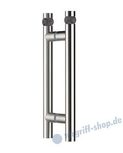 Klassik Moon Glastür-Stoßgriff-Paar 5168/1 | Länge 320 mm | gerade Stütze | Stange Ø 26 mm mit Lavasteinkugel Ø 30 mm, Edelstahl matt von Schneider + Fichtel