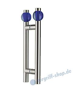Klassik Moon Glastür-Stoßgriff-Paar 5362/1 | Länge 350 mm | gerade Stütze | Stange Ø 26 mm mit blauer Kristallglaskugel Ø 50 mm, Edelstahl matt von Schneider + Fichtel