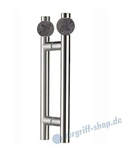 Klassik Moon Glastür-Stoßgriff-Paar 5368/1 | Länge 350 mm | gerade Stütze | Stange Ø 26 mm mit Lavasteinkugel Ø 50 mm, Edelstahl matt von Schneider + Fichtel