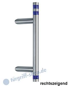 Klassik Vidrio 5132/44 Stossgriff mit schräger Stütze   Stange Ø 26 mm mit blauen Kristallglaszylindern, Edelstahl Schneider + Fichtel