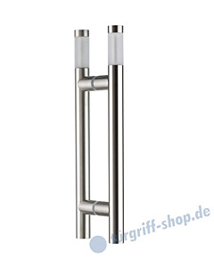 Klassik Vidrio Glastür-Stoßgriff-Paar 5603/1 | Länge 340 mm | gerade Stütze | Stange Ø 26 mm mit mattem Glaszylindern groß, Edelstahl matt von Schneider + Fichtel