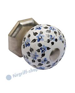 Türknopf KR-107 feststehend in 3 Farben Porzellan mit blauen Blumen Karan Beschläge
