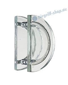 Kristall Massiv Glastürgriff-Paar | Halbkreisform | Bohrabstand 170 mm | Kristallglas klar von Schneider + Fichtel