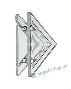 Kristall Massiv Glastürgriff-Paar | Dreiecksform | Bohrabstand 160 mm | Kristallglas klar von Schneider + Fichtel
