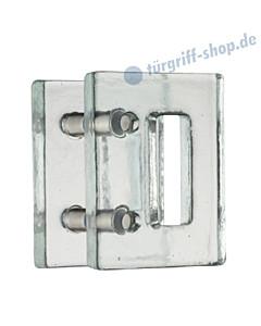 Kristall Massiv Glastürgriff-Paar | Rechteckform | Bohrabstand 100 mm | Kristallglas klar von Schneider + Fichtel