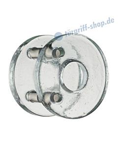 Kristall Massiv Glastürgriff-Paar | Kreisform | Bohrabstand 100 mm | Kristallglas klar von Schneider + Fichtel